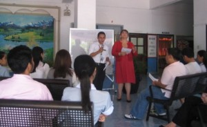 Speaking before the student council in Arellano University Pasig