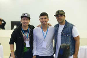 (l-r) Filipino songwriters Yan and Borg Asuncion pose with renowned worship artist John Katina.