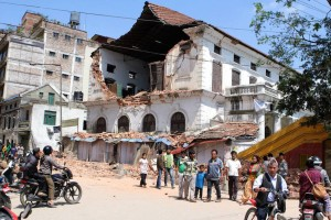 A part of the Kathmandu Durbar High School was destroyed by the tremors