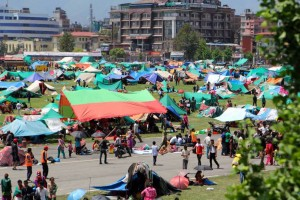 Many Nepalis spent the next few days camping in open areas a few days after the earthquake